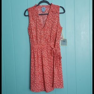 NWT CeCe  Floral Smocked Wrap Dress- Coral